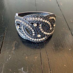 Pewter and Diamond Cuff Bracelet